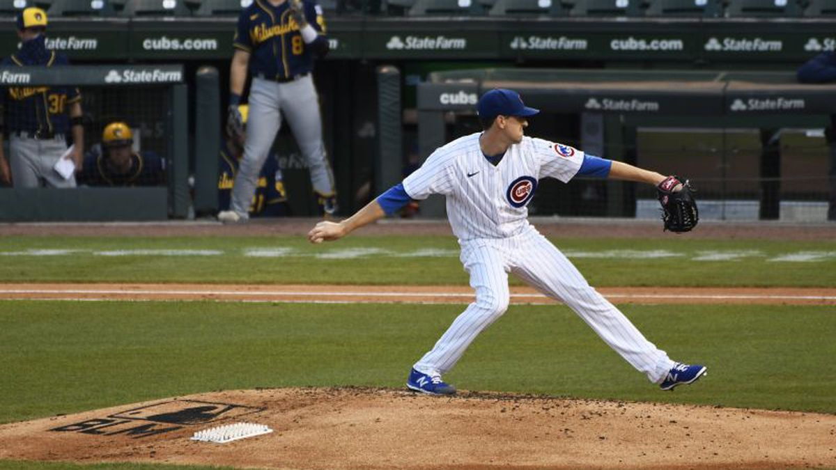 Chicago Cubs starting pitcher Kyle Hendricks throws the ball against the Milwaukee Brewers during the fourth inning of an opening day baseball game Friday, July, 24, 2020, in Chicago. (AP Photo/David Banks)