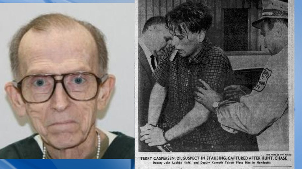 Terry Caspersen DOC booking photo from 2019 and Wausau Daily Herald article photo of Caspersen...