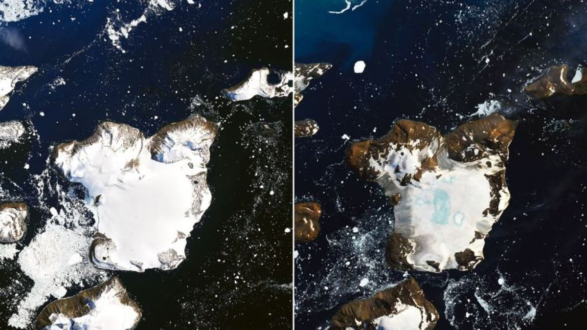 Before-and-after satellite images from NASA show how much ice melted on Antarctica's...