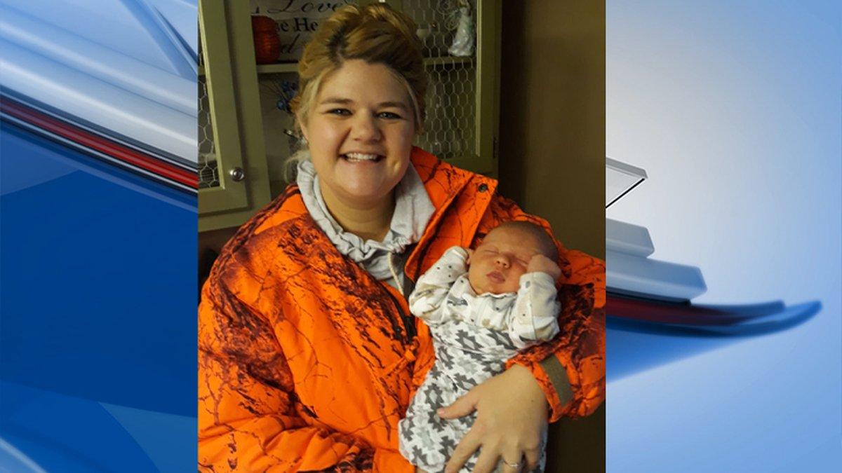 Mom, and hunter Hannah Bandura with newborn son