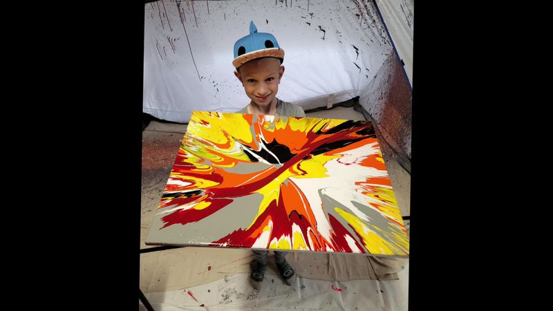 Bentley Schacht pictured with his spin art.
