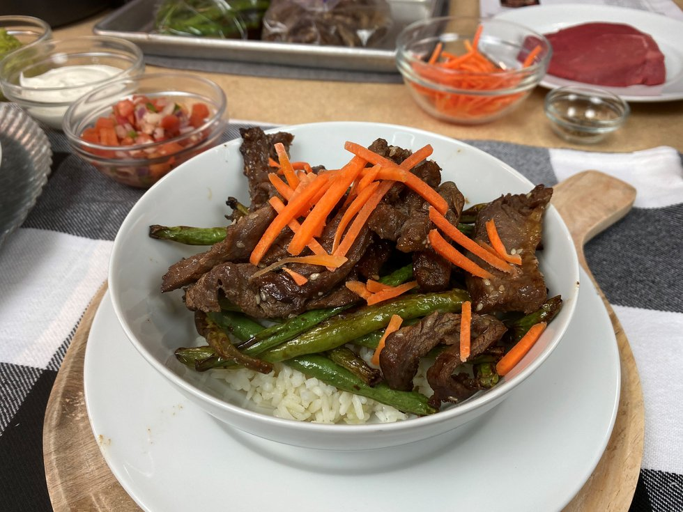 Air Fryer Ginger Sesame Beef with Green Beans