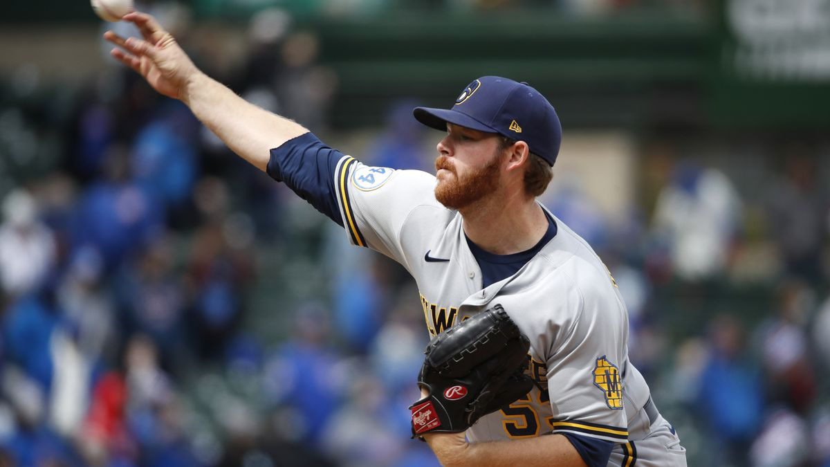 Milwaukee Brewers starting pitcher Brandon Woodruff delivers during the fourth inning of a...