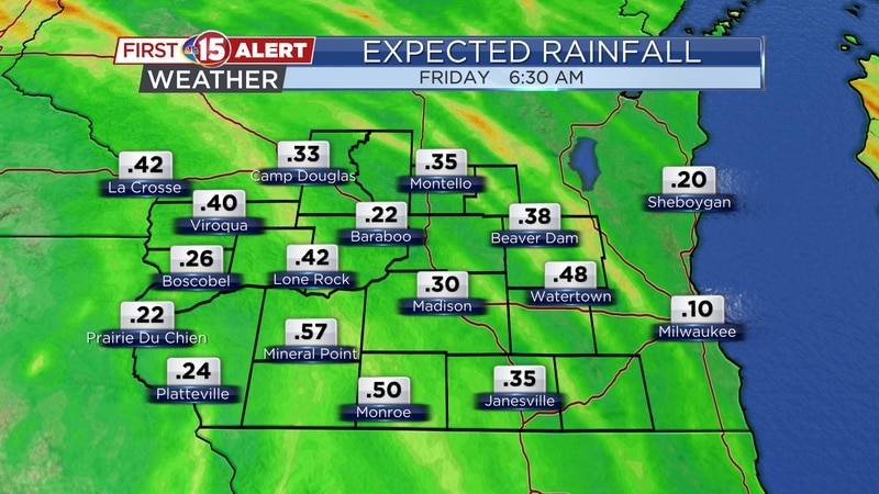 Rainfall totals of a quarter to a half inch are expected through early tomorrow.