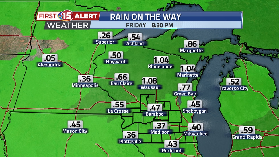 A quarter to a half inch of rain is expected over southern Wisconsin through the middle of the...