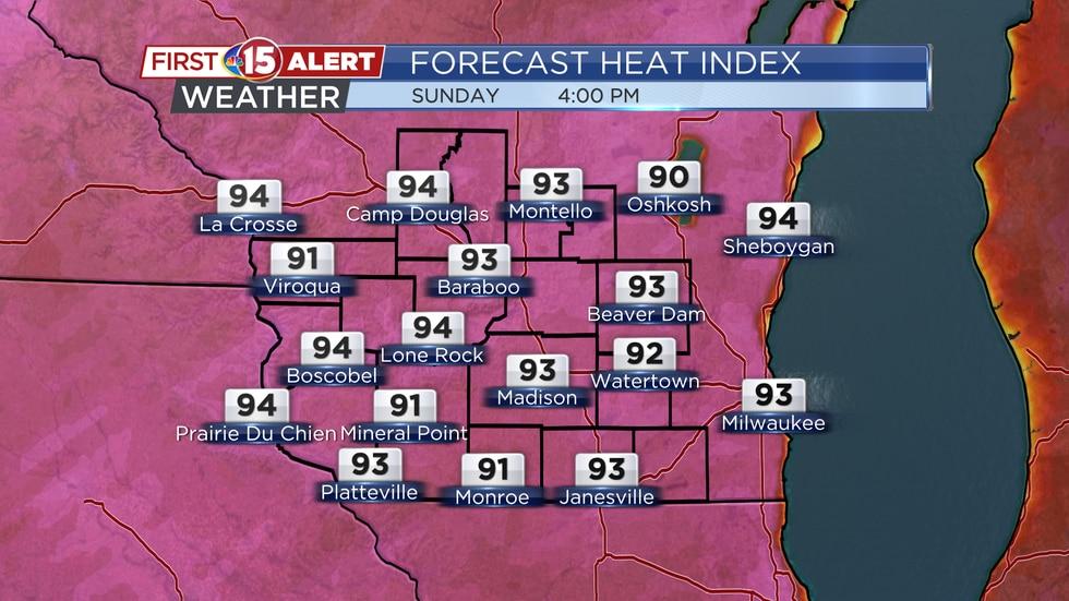 Forecast Heat Index Values Sunday 4PM