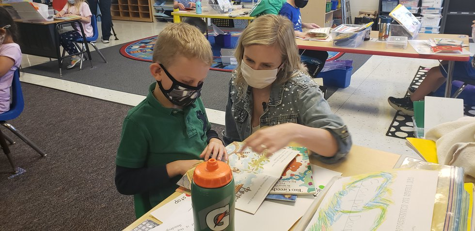 Kindergarteners at West Middleton Elementary spend some of their final days in Mrs. Amy Blake's...
