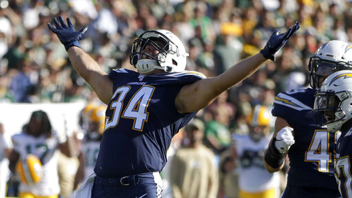 Los Angeles Chargers fullback Derek Watt celebrates after a tackle against the Green Bay Packers during the first half of an NFL football game Sunday, Nov. 3, 2019, in Carson, Calif. (AP Photo/Marcio Jose Sanchez)