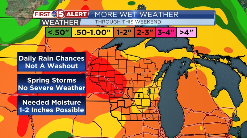 1-2 inches of rainfall possible by the end of the weekend.