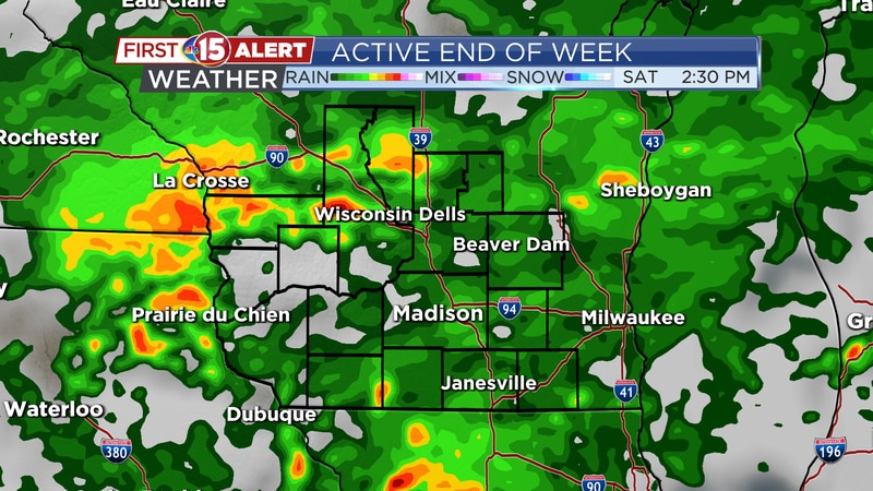 Scattered showers and storms continue through Friday and Saturday.