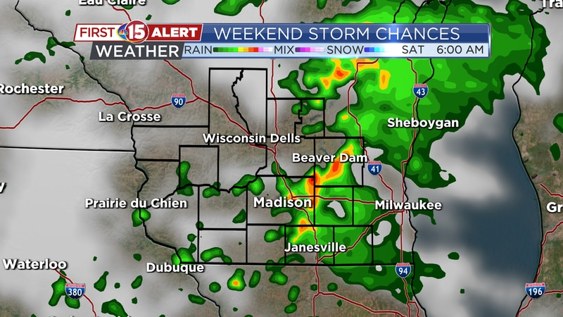 Scattered showers transition to on-and-off rain Saturday.