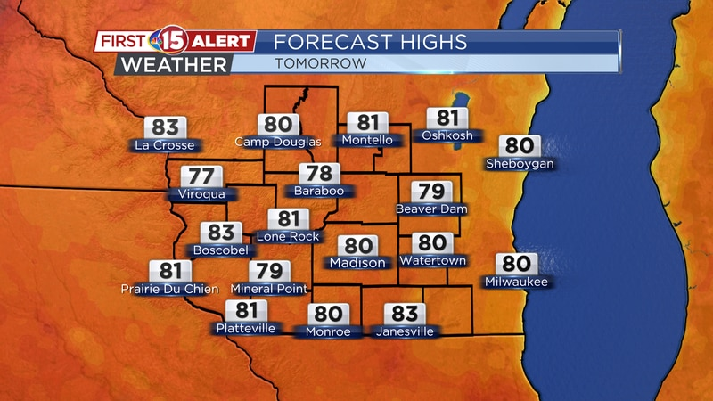 Highs will again top out in the upper 70s - lower 80s across south-central Wisconsin.