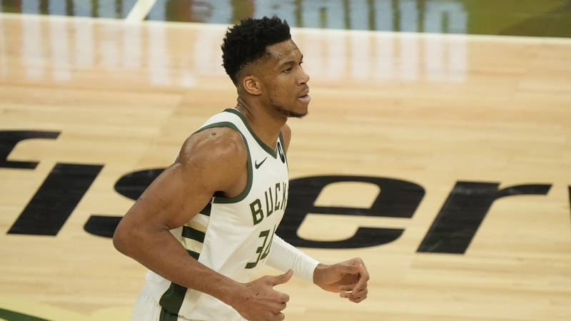 Milwaukee Bucks' Giannis Antetokounmpo runs during the first half of Game 2 of the NBA Eastern...