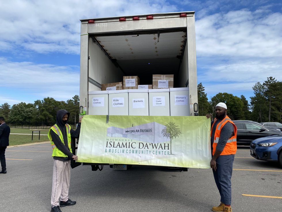 Milwaukee Muslim Women's Coalition and Hanan Refugee Relief Group bring a 3rd shipment of...