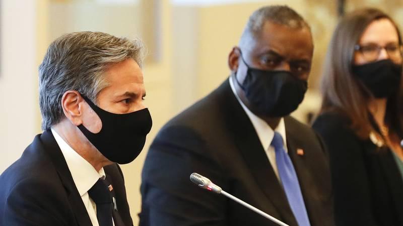 FILE - U.S. Secretary of State Antony Blinken, left, and U.S. Defense Secretary Lloyd Austin,...