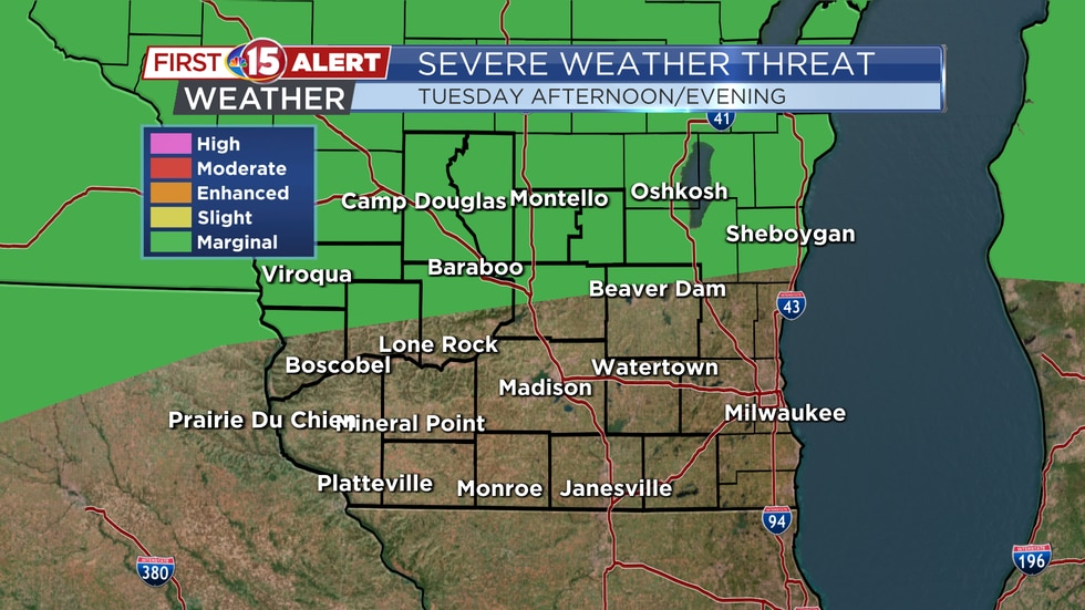A few stronger storms are possible farther North of Madison Tuesday afternoon/evening.