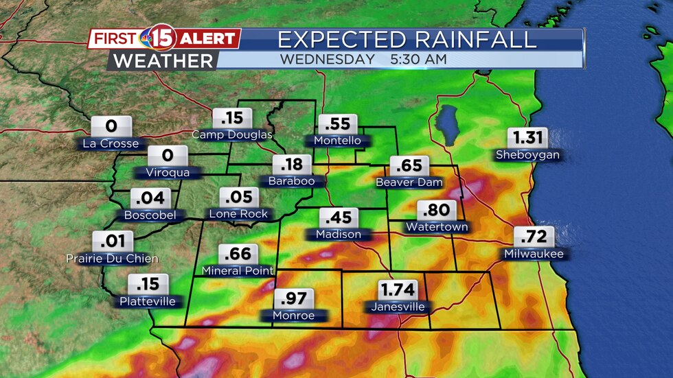 These are the forecast rain totals for southern Wisconsin through early Wednesday.