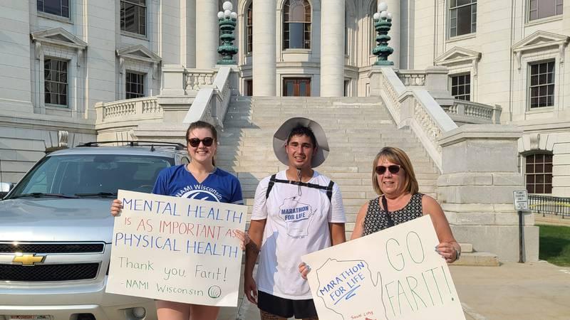 Farit Kuri-Azamar ran a marathon from Sauk Prairie to the capitol to raise money and awareness...