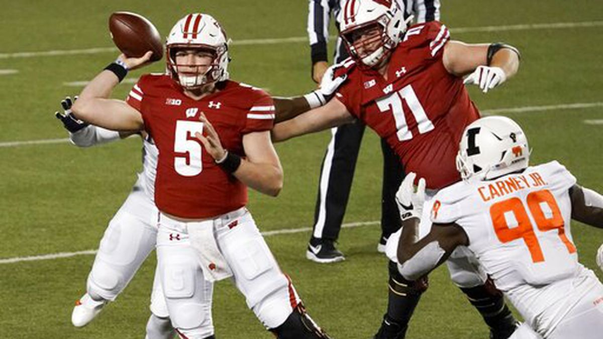 Wisconsin quarterback Graham Mertz throws a pass during the first half of an NCAA college...