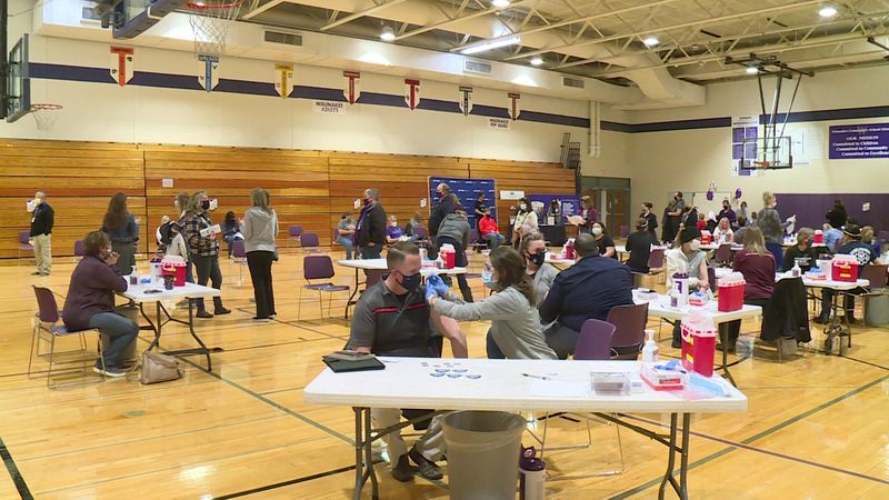 Over 500 Waunakee district employees received their vaccine Tuesday at a mobile vaccination...