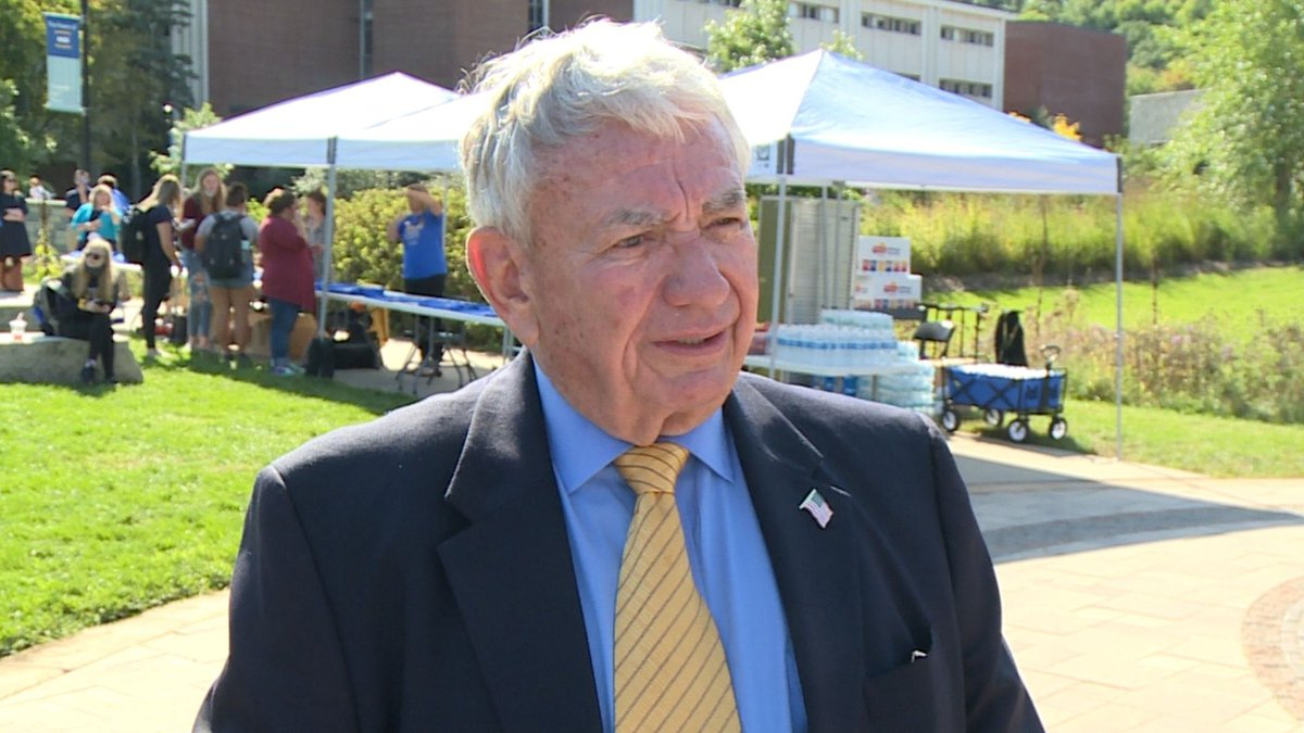 """Tommy Thompson was on hand to tout the UW System's """"70 for 70"""" campaign to help get students..."""