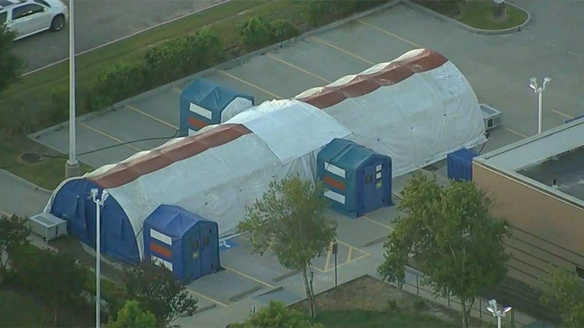 Overflow tents are seen at LBJ Hospital in Houston on Monday amid a COVID-19 surge in Texas.