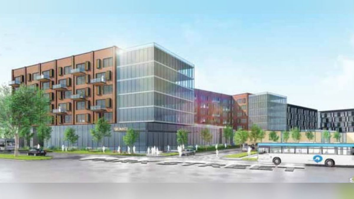 Design concept for proposed project on Park St. for a new grocery store and apartments. Courtesy: Rule Enterprises