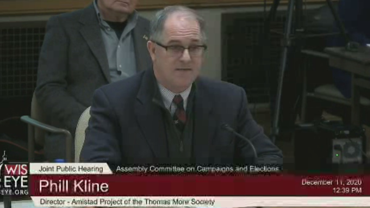 Phill Kline testifies at the Committee on Campaigns and Elections hearing on December 11, 2020.