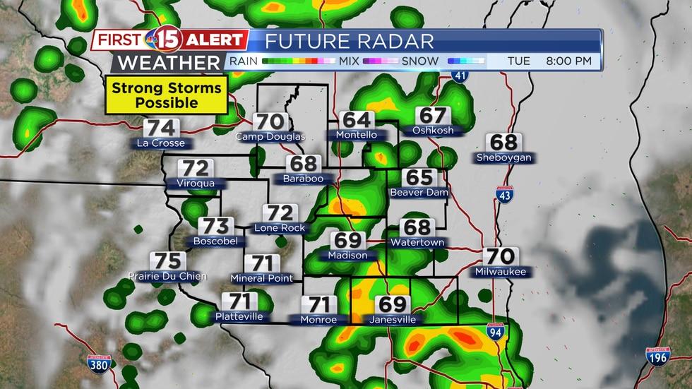 Future Radar - Tuesday 8PM