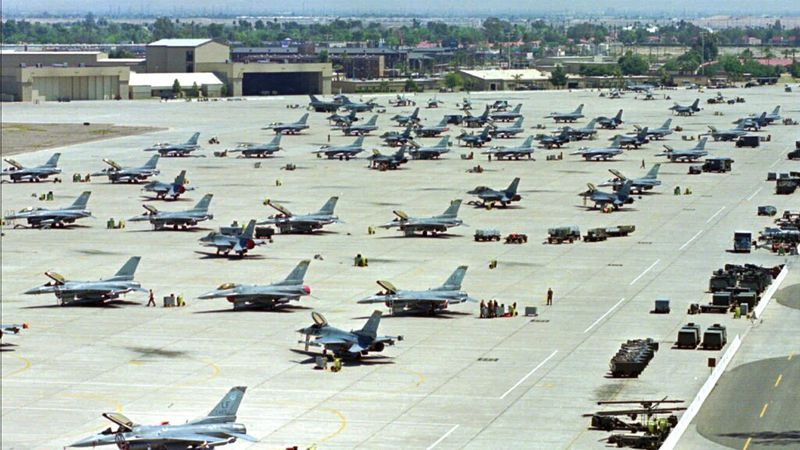 FILE - In this April 14, 1999, file photo, F-16 Fighting Falcons sit on the tarmac at Luke Air...