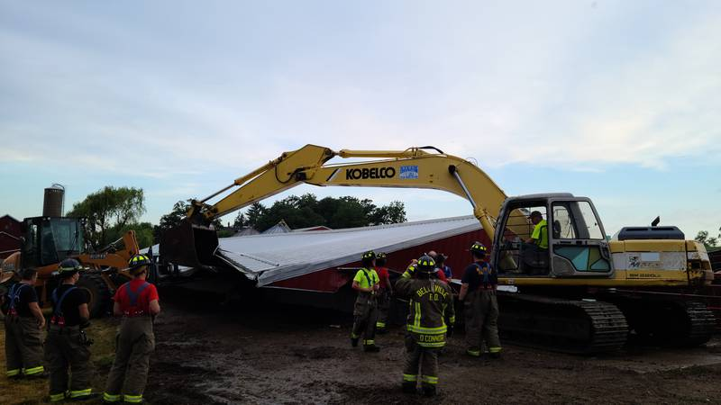 A barn collapsed in Belleville with over 100 cows inside.