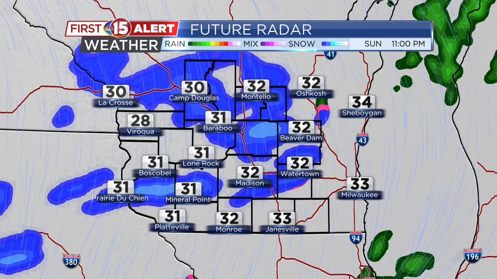 Light snow flurries continue through tonight. Accumulations are more likely NW of Madison.