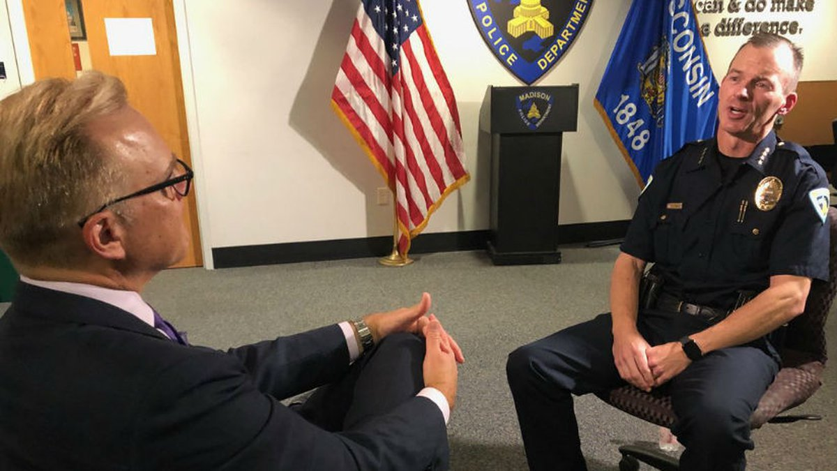 NBC15's John Stofflet during a one-on-one interview with MPD's Acting Chief Vic Wahl.