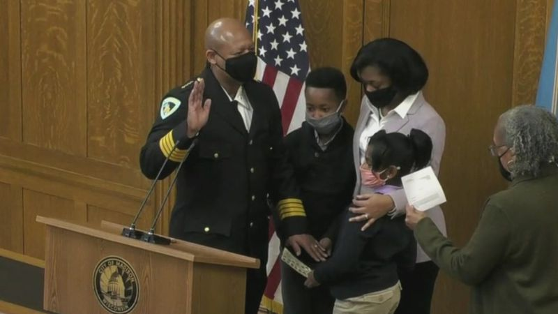 Chief Shon Barnes sworn in as Chief of Police of the Madison Police Department on Feb. 1, 2021....