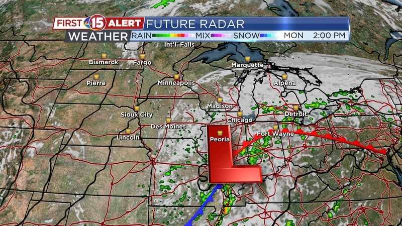 Scattered showers are possible as a slow-moving Low tracks North over Lake Michigan...