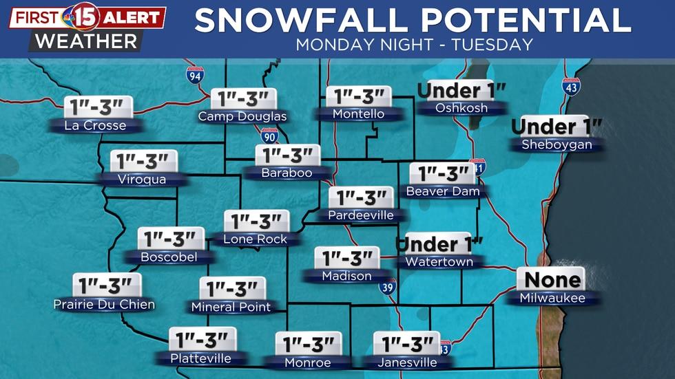 Snowfall Potential - Monday Night - Tuesday