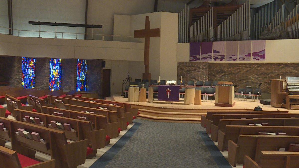 Pews are empty at the First United Methodist Church in Madison. All worship has moved online...