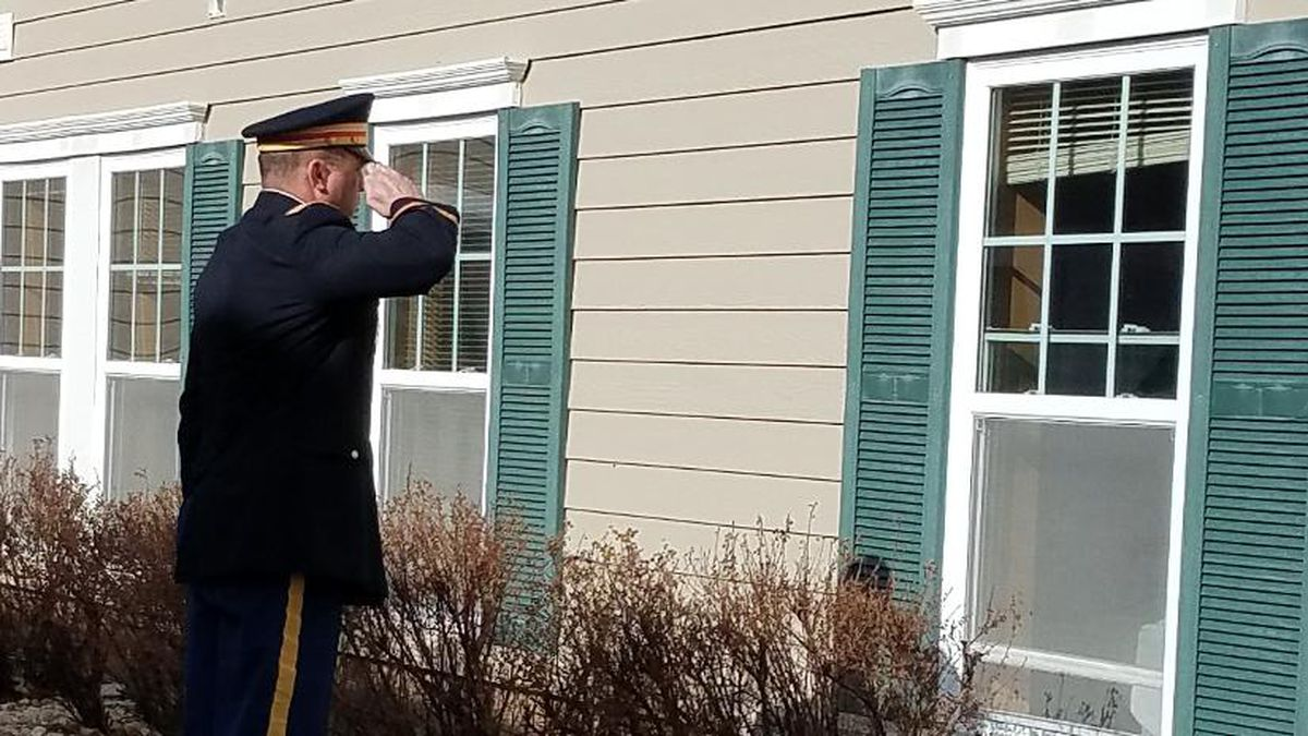 Johnny Simmons giving one final salute to a World War II veteran who died amid the coronavirus...