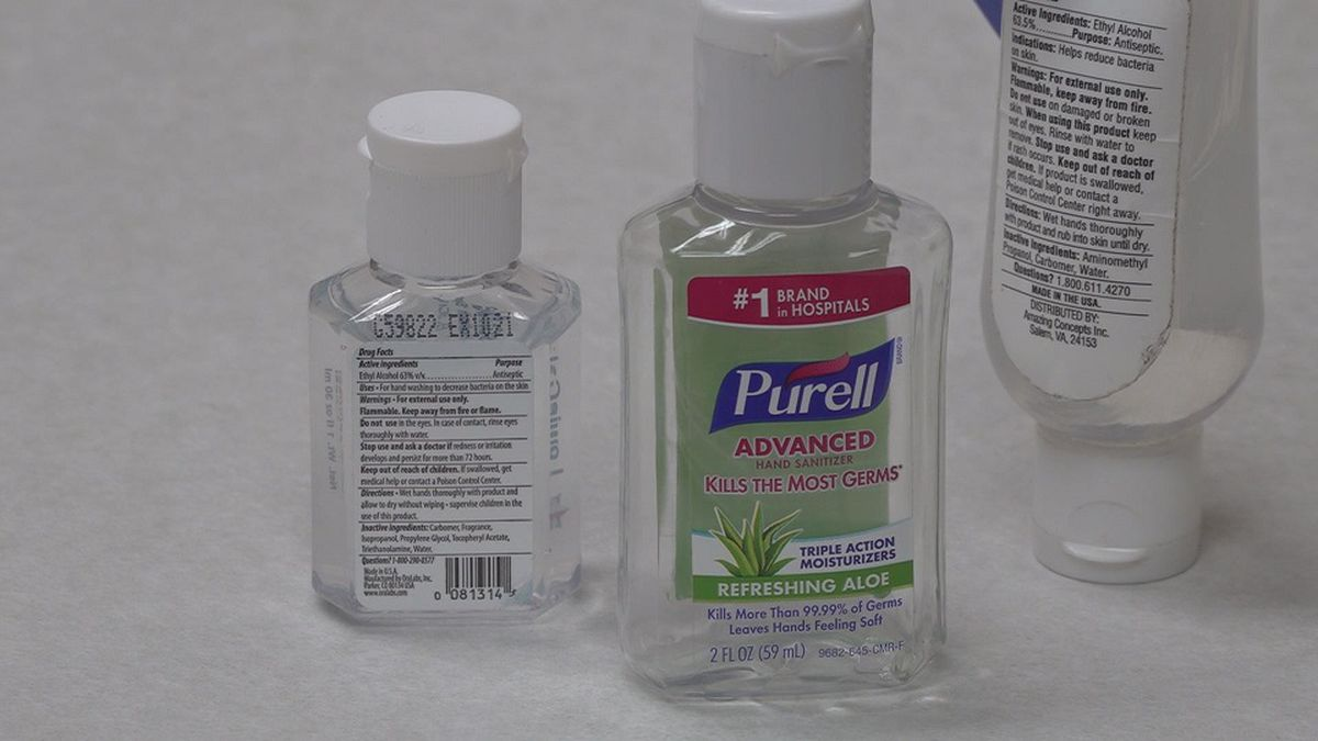 These hand sanitizer bottles are examples of sanitizers that are safe to use