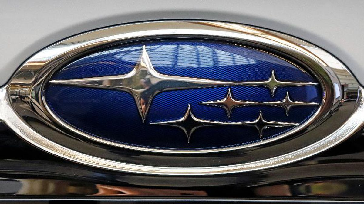 This is the Subaru logo on a 2019 Subaru Forester on display at the 2019 Pittsburgh International Auto Show in Pittsburgh Thursday, Feb. 14, 2019. (AP Photo/Gene J. Puskar)