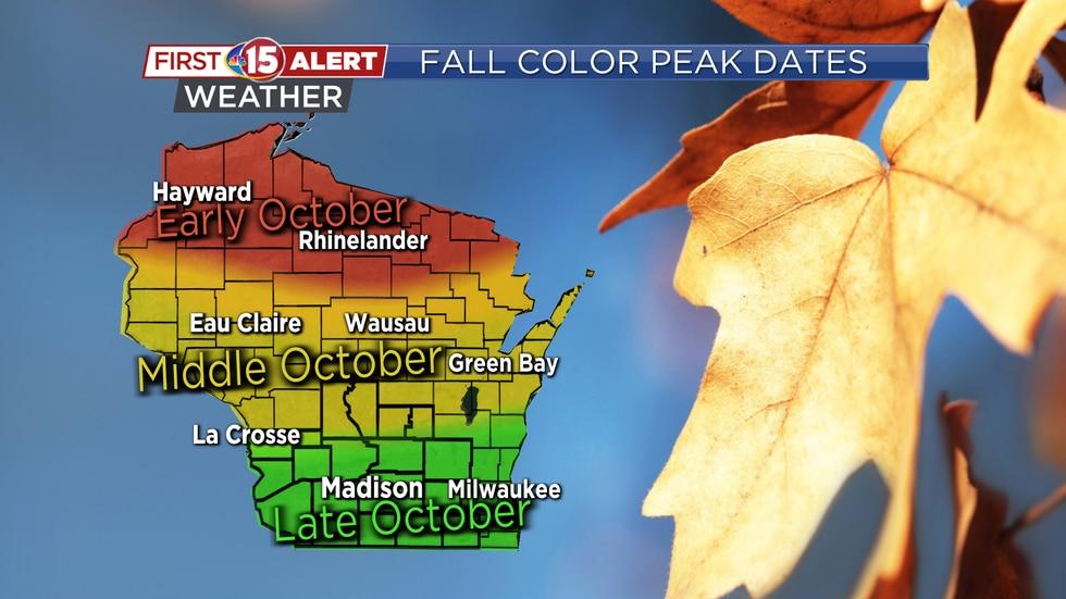 Fall color peak dates across Wisconsin in 2020.