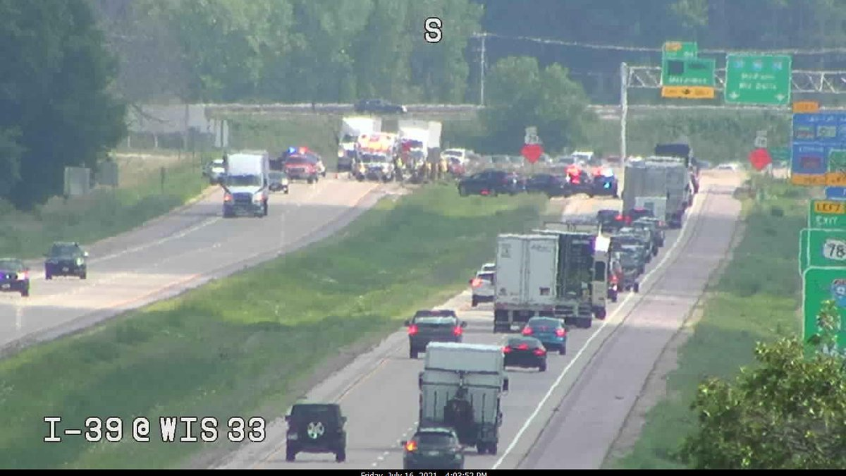 I-39 South is closed beyond WIS 33 because of a crash.