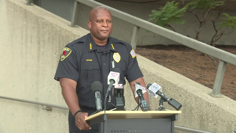 Beloit Police Dept. Chief Andre Sayles holds a news conference to update the public on the...