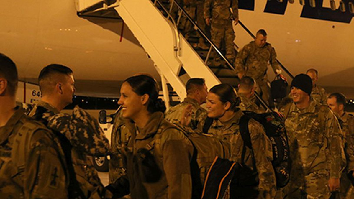 Wisconsin Army National Guard soldiers arrive in Fort Bliss, Texas before they demobilize....