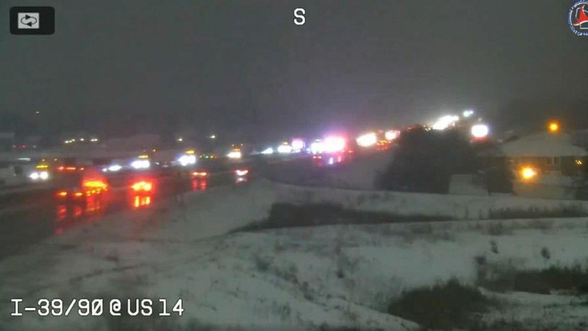 WisDOT's camera at the interstate and Highway 14, showing the crash Monday evening (Source:...