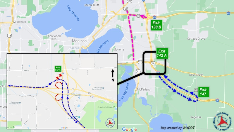 Wisconsin DOT reports temporary closure of southbound I-39/90 ramp to westbound Madison Beltline.