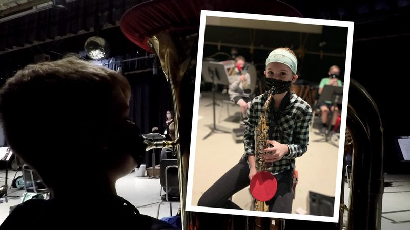 'Music masks' allow Milton Middle School band to play safely indoors